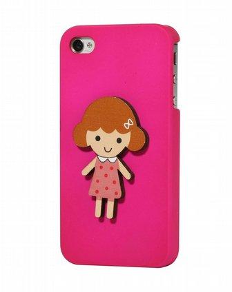iphone4/4s玫红色可爱小胖妞手机壳
