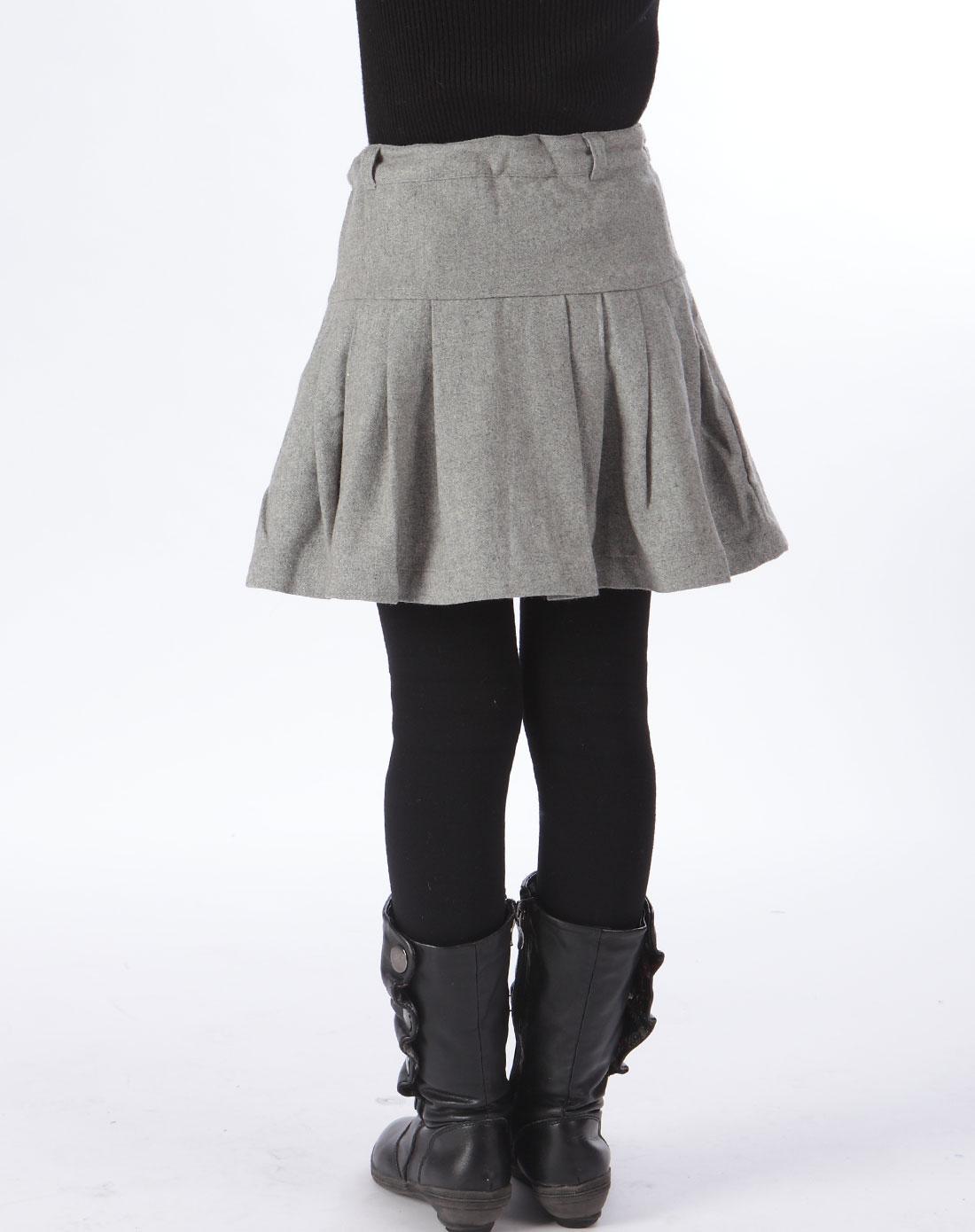 灰色呢子韩版百褶裙