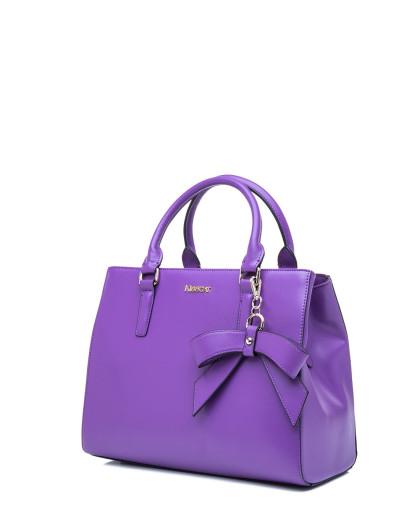 紫色牛剖层皮革时尚手提包