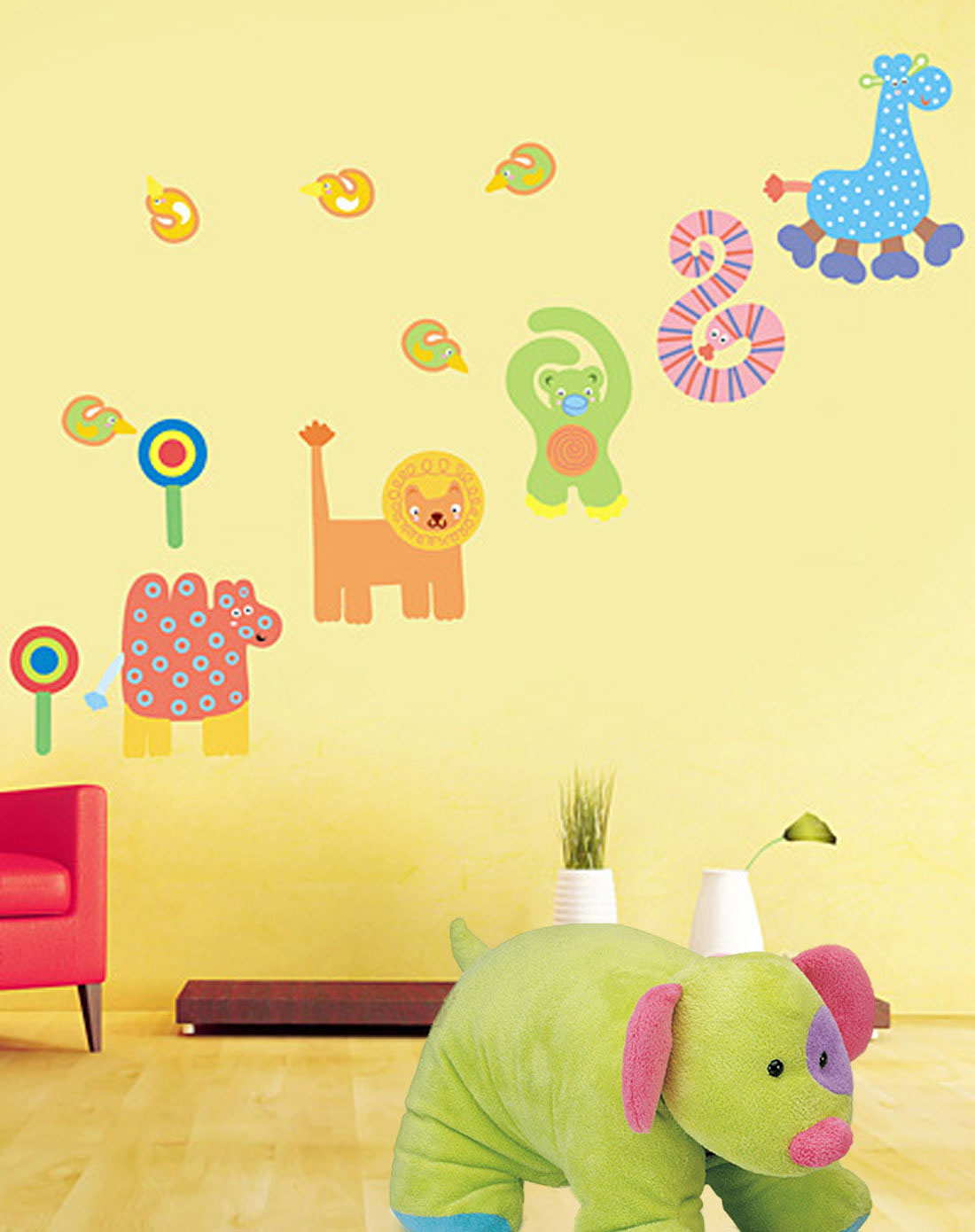 儿童房彩色可移墙贴卡通动物2件套
