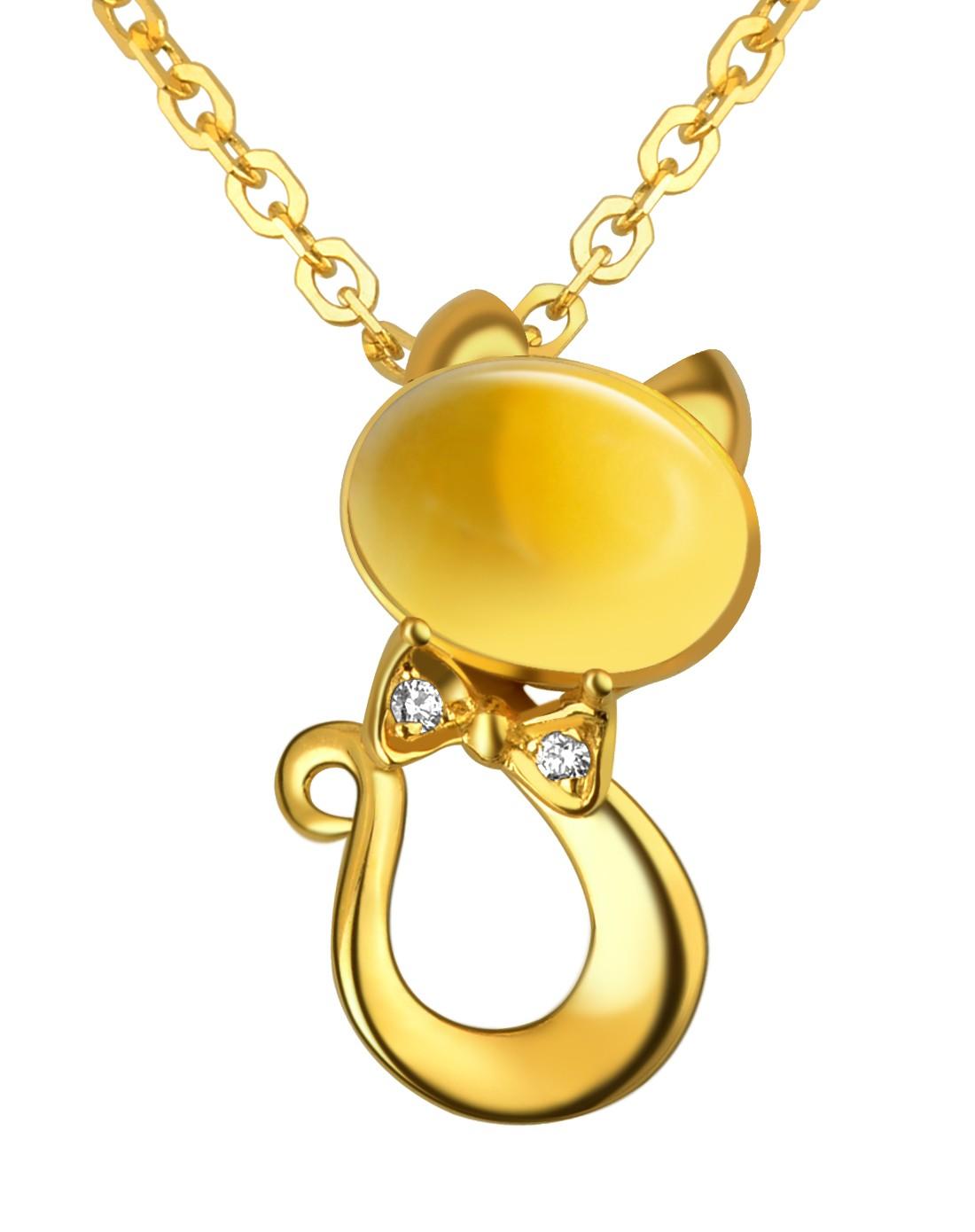 彩18k金镶嵌黄水晶吊坠可爱猫猫彩色宝石
