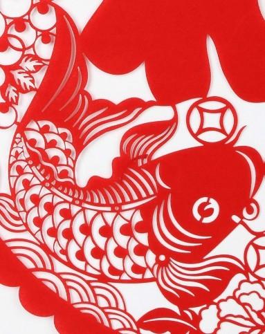 【两件起售】高级绒布春节剪纸窗花羊 鱼