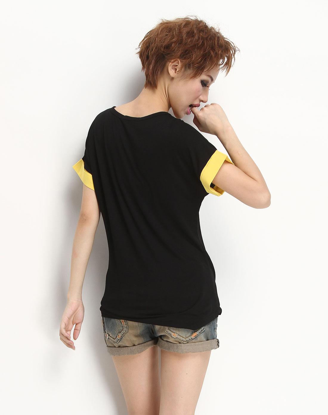 黑色卡通短袖t恤