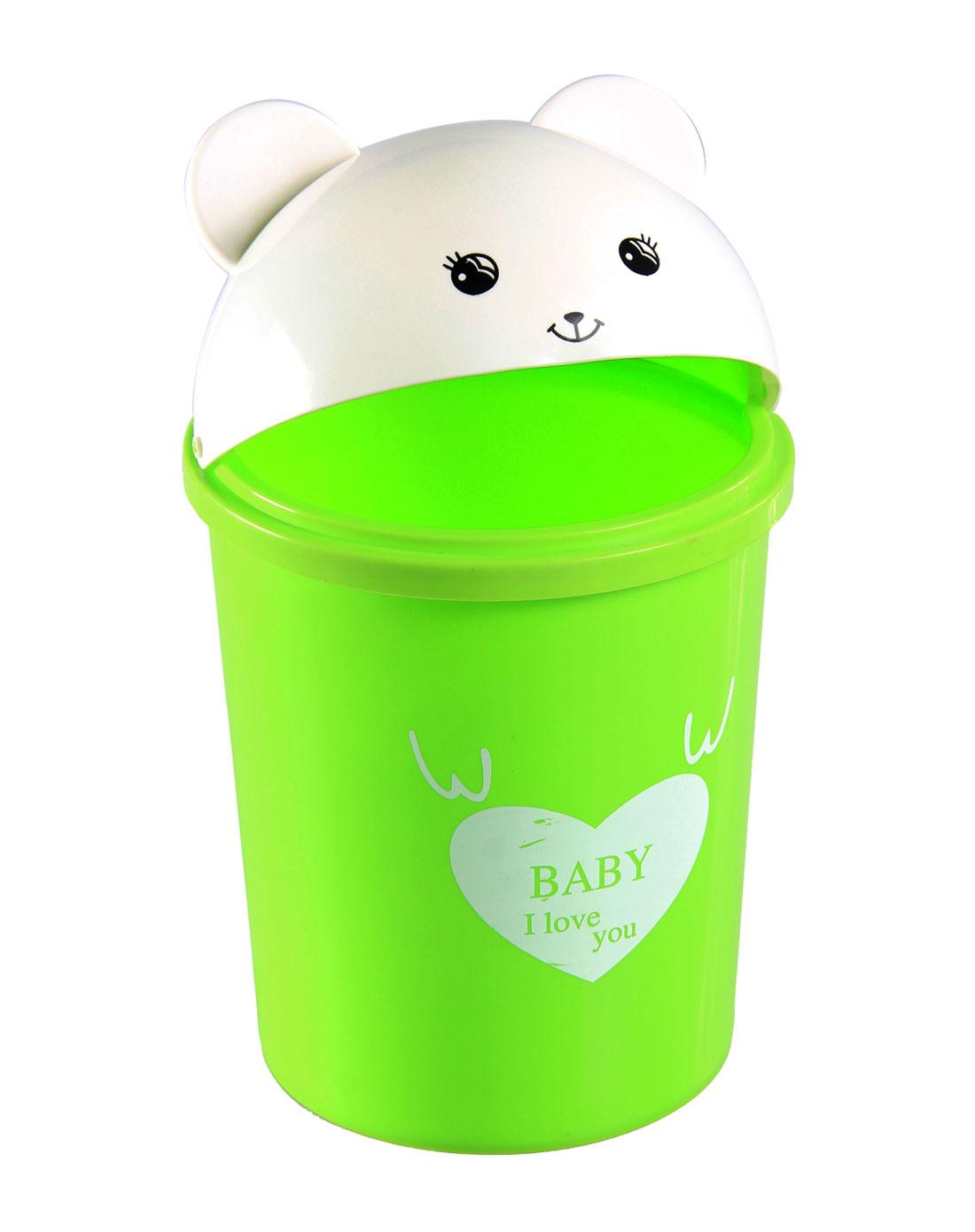 绿色可爱小熊8l塑料垃圾桶