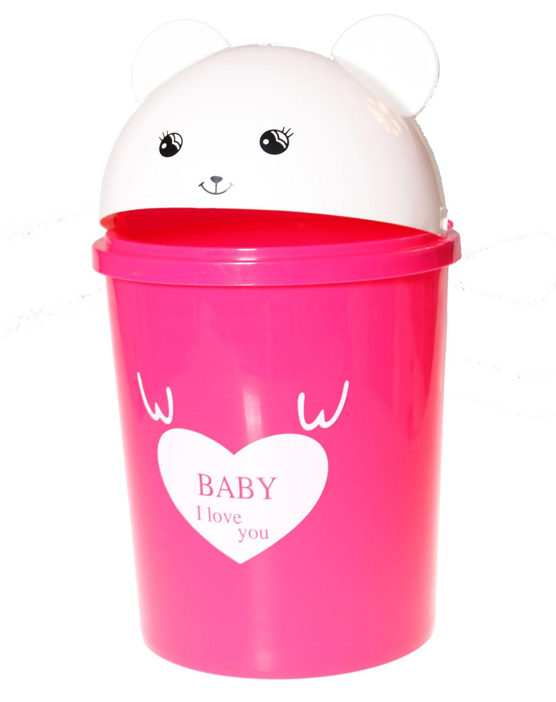 红色可爱小熊8l塑料垃圾桶