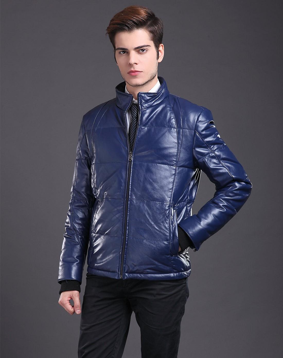 男款蓝色成熟稳重商务长袖羽绒皮衣