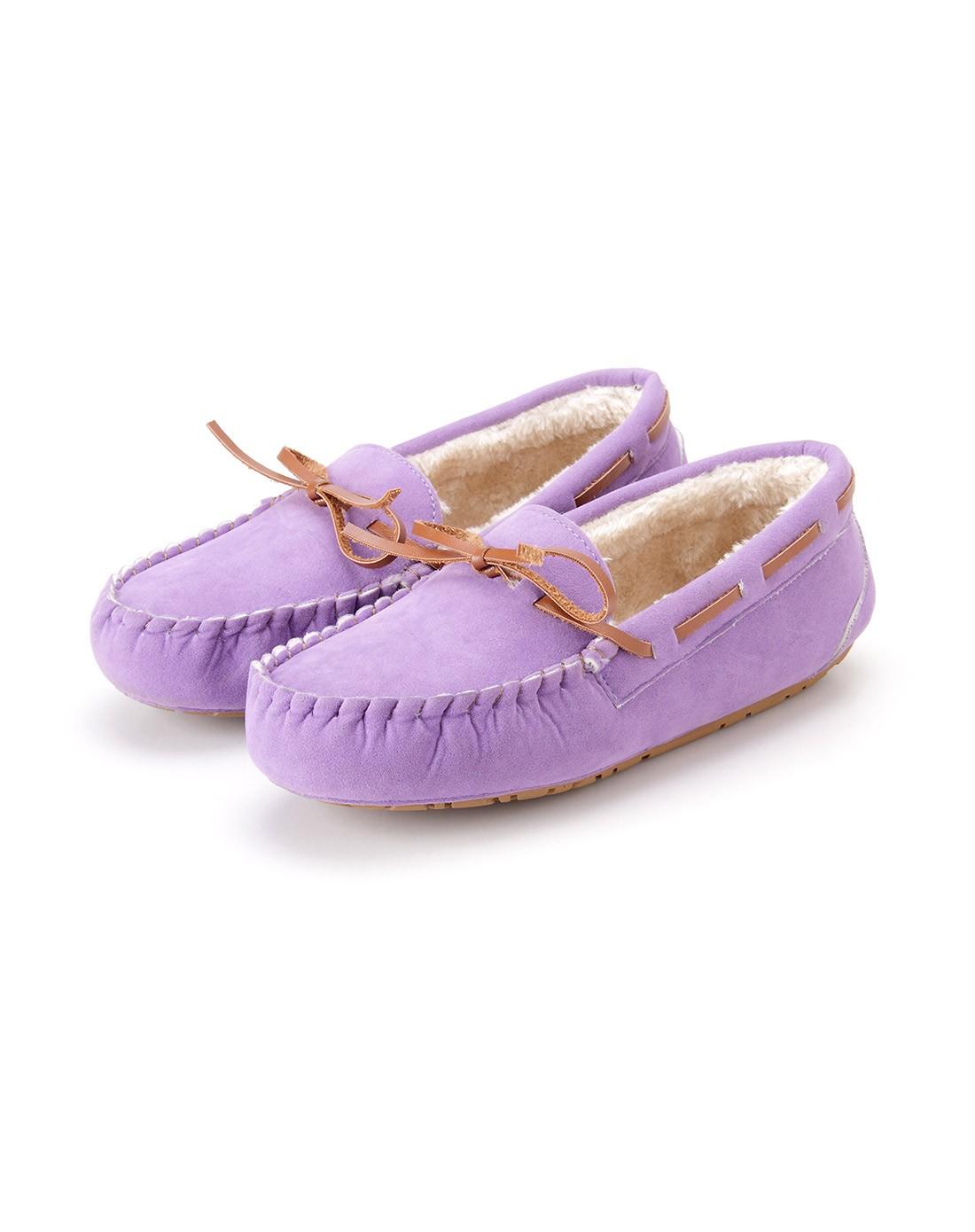 浅紫色蝴蝶结舒适豆豆鞋