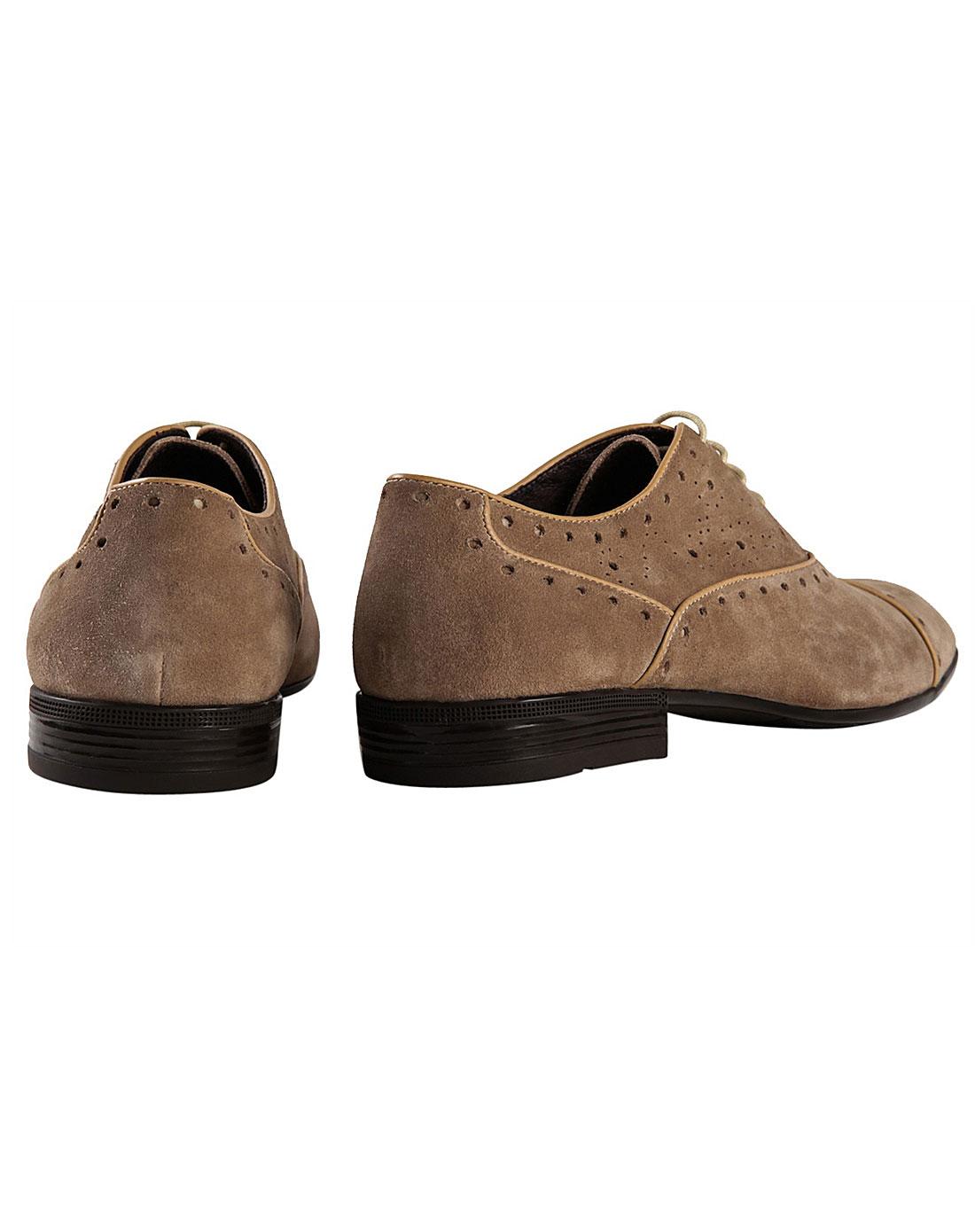 英伦时尚磨砂皮绒系带翼纹雕花商务休闲尖头皮鞋