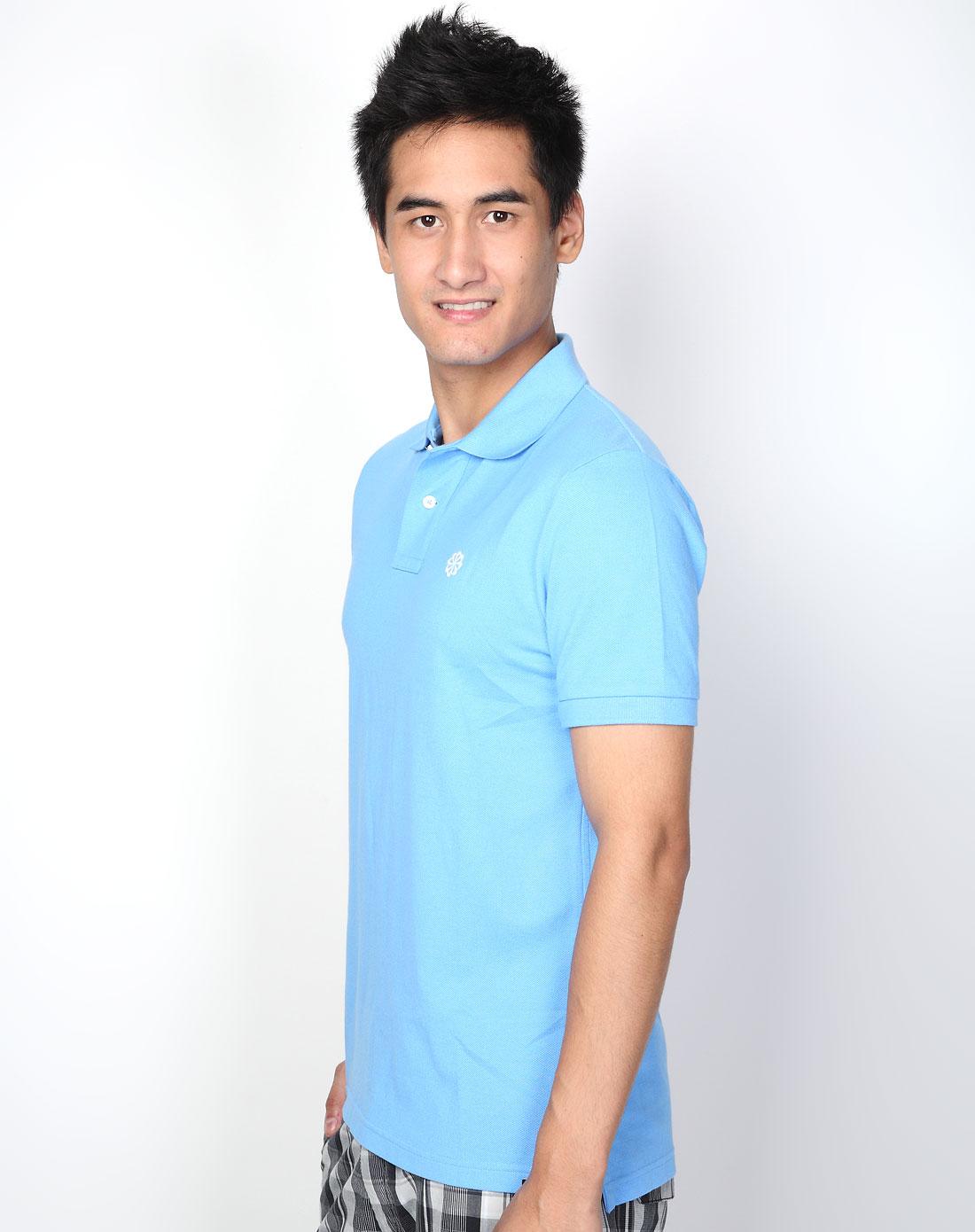 男款蓝色短袖polo衫