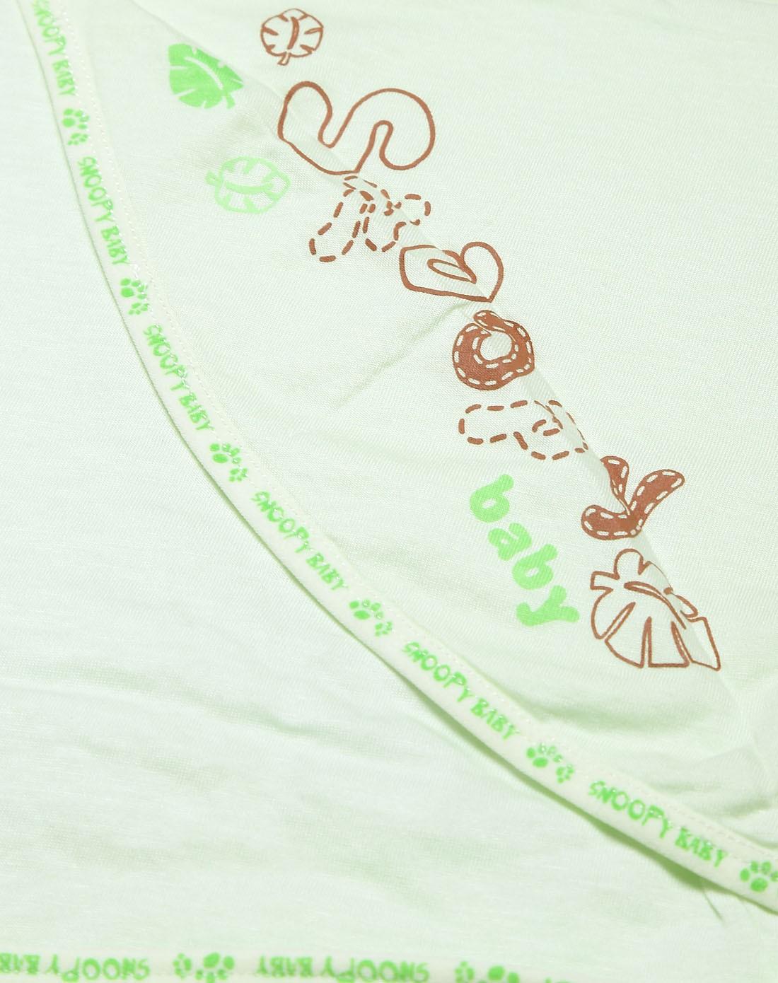中性浅绿色可爱logo铺棉包巾