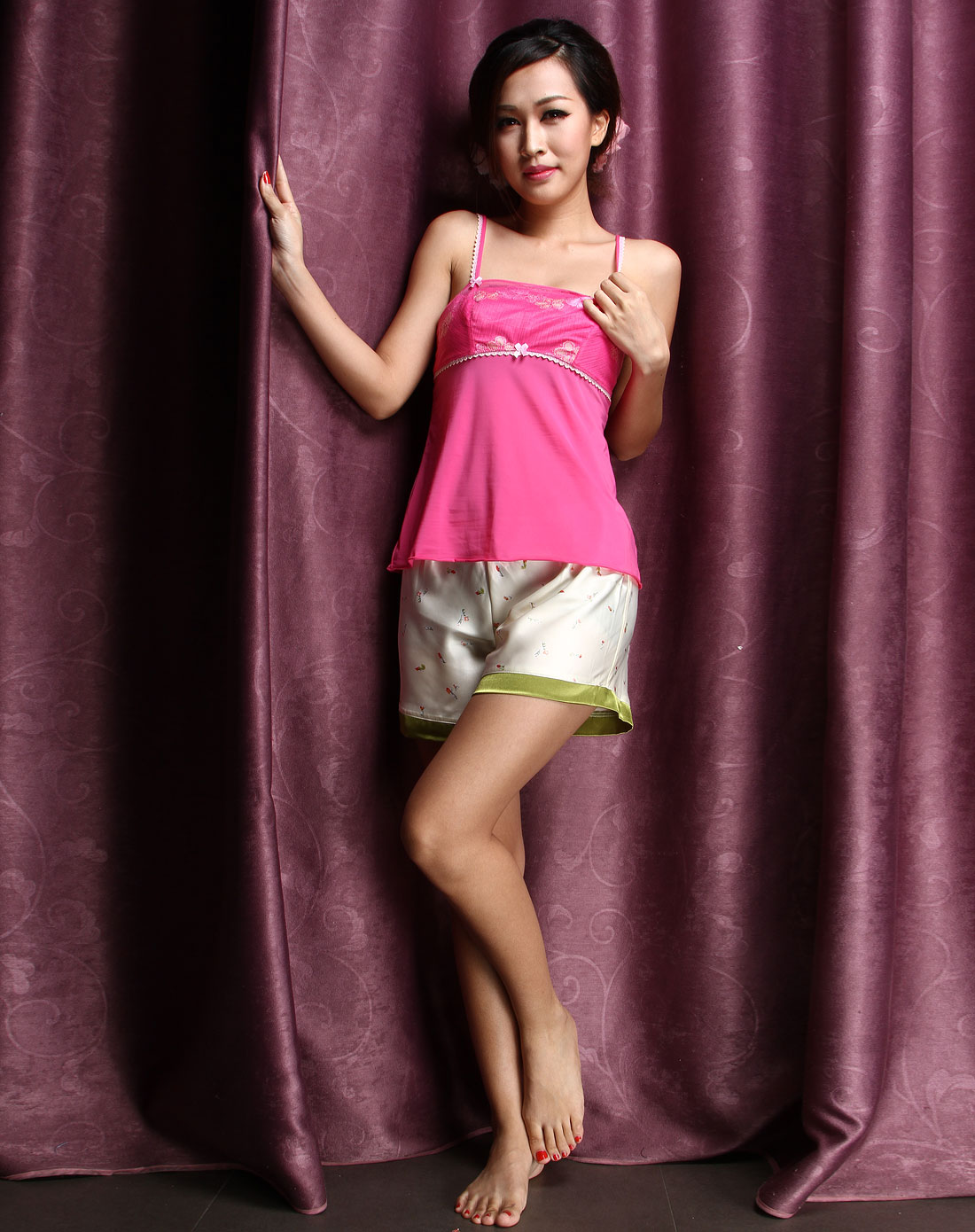 依蕾斯yileisi内衣专场-桃红色清纯可爱舒适小吊带背心图片