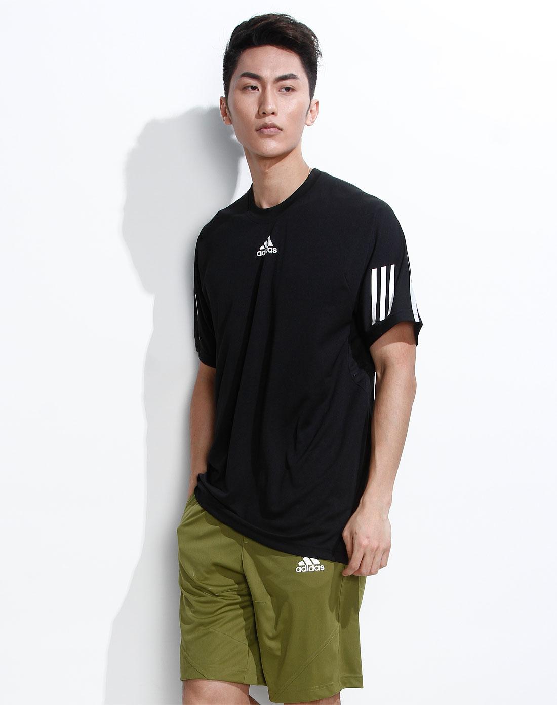 阿迪达斯adidas男装专场-男款黑色运动短袖t恤