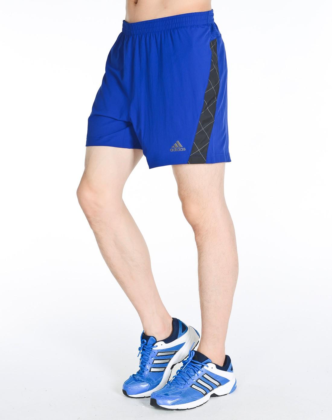 阿迪达斯adidas男装专场-男款深蓝色跑步系列短裤