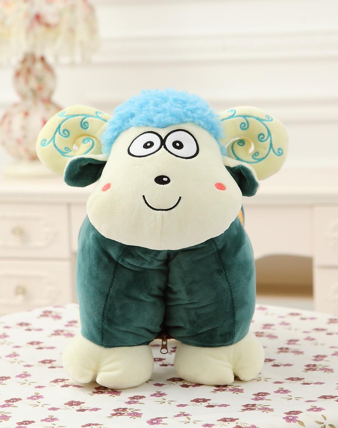 可爱蓝色卡通羊公仔靠垫