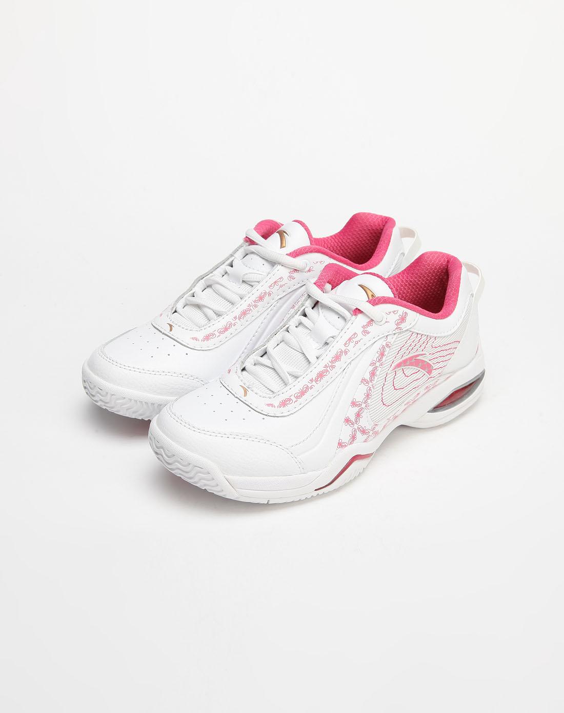 安踏anta-女款白/粉红色印花网球鞋2033303-4_唯品会