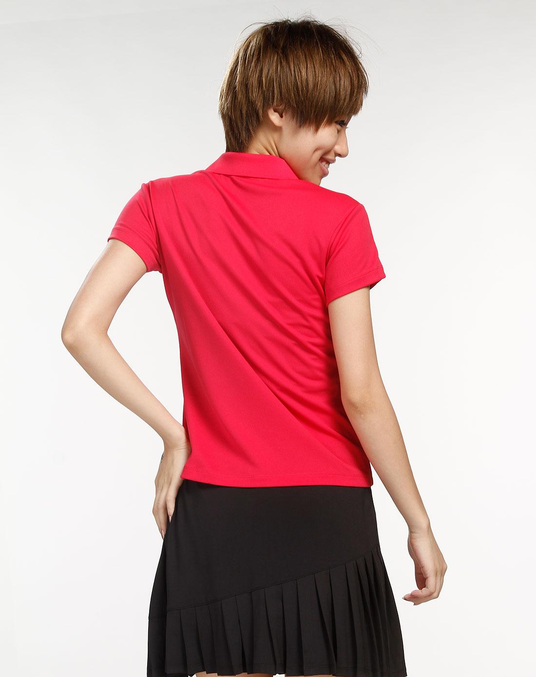 安踏anta女装专场-女款玫红色翻领短袖t恤