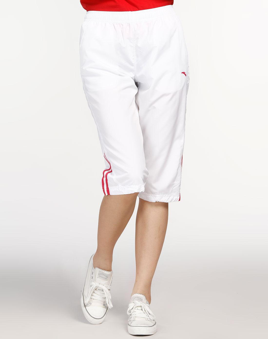 安踏anta女装专场-女款白色综合训练系列七分裤