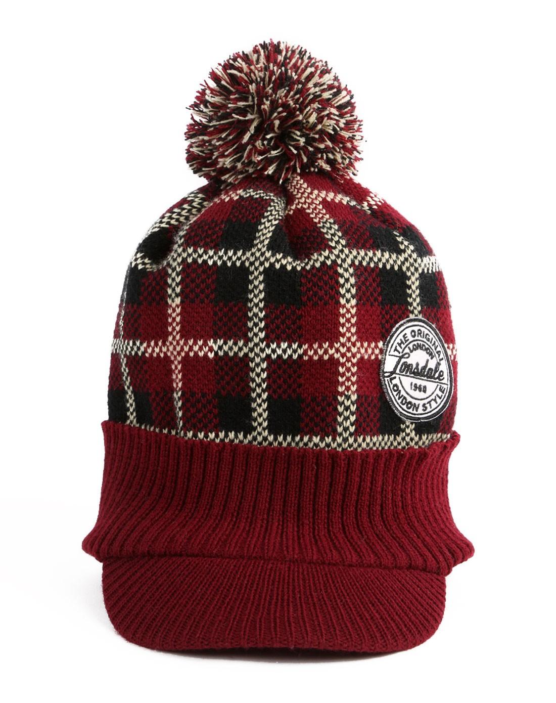 龙狮戴尔 中性红色毛线帽子