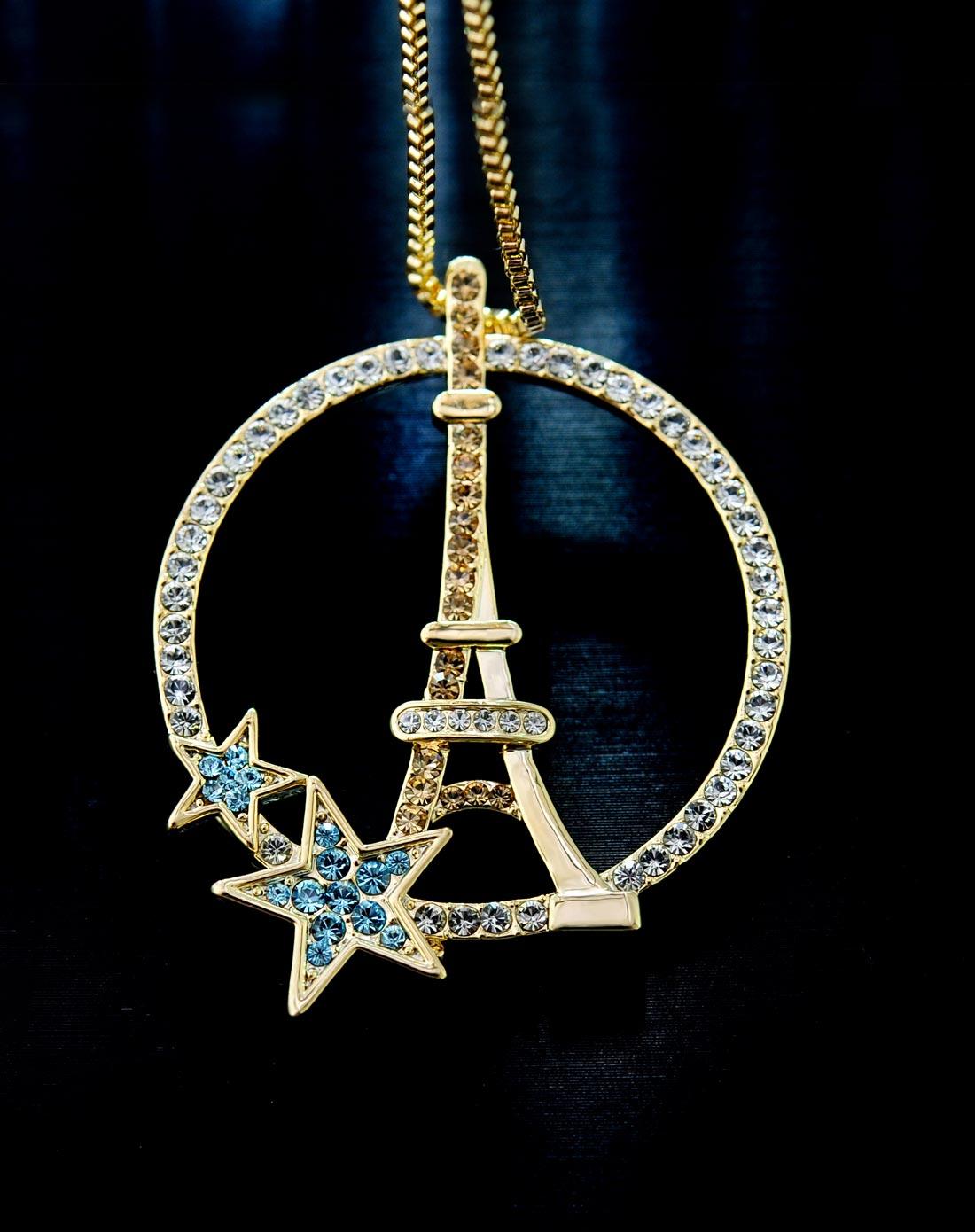 复古时尚长款毛衣链埃菲尔铁塔吊坠长项链