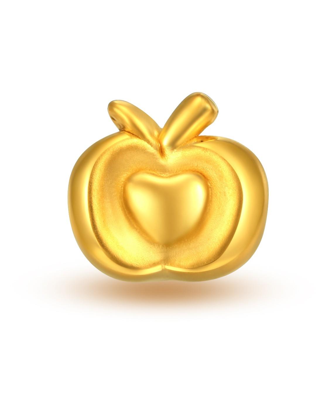 金�L̜_岁岁苹安 3d硬金爱心苹果路路通(送红绳)
