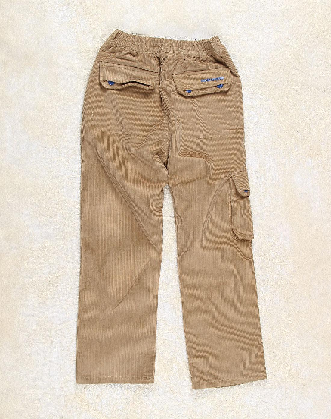 麻希玛柔moshimoro男女童混合专场-男童深卡其色时尚梭织加里长裤
