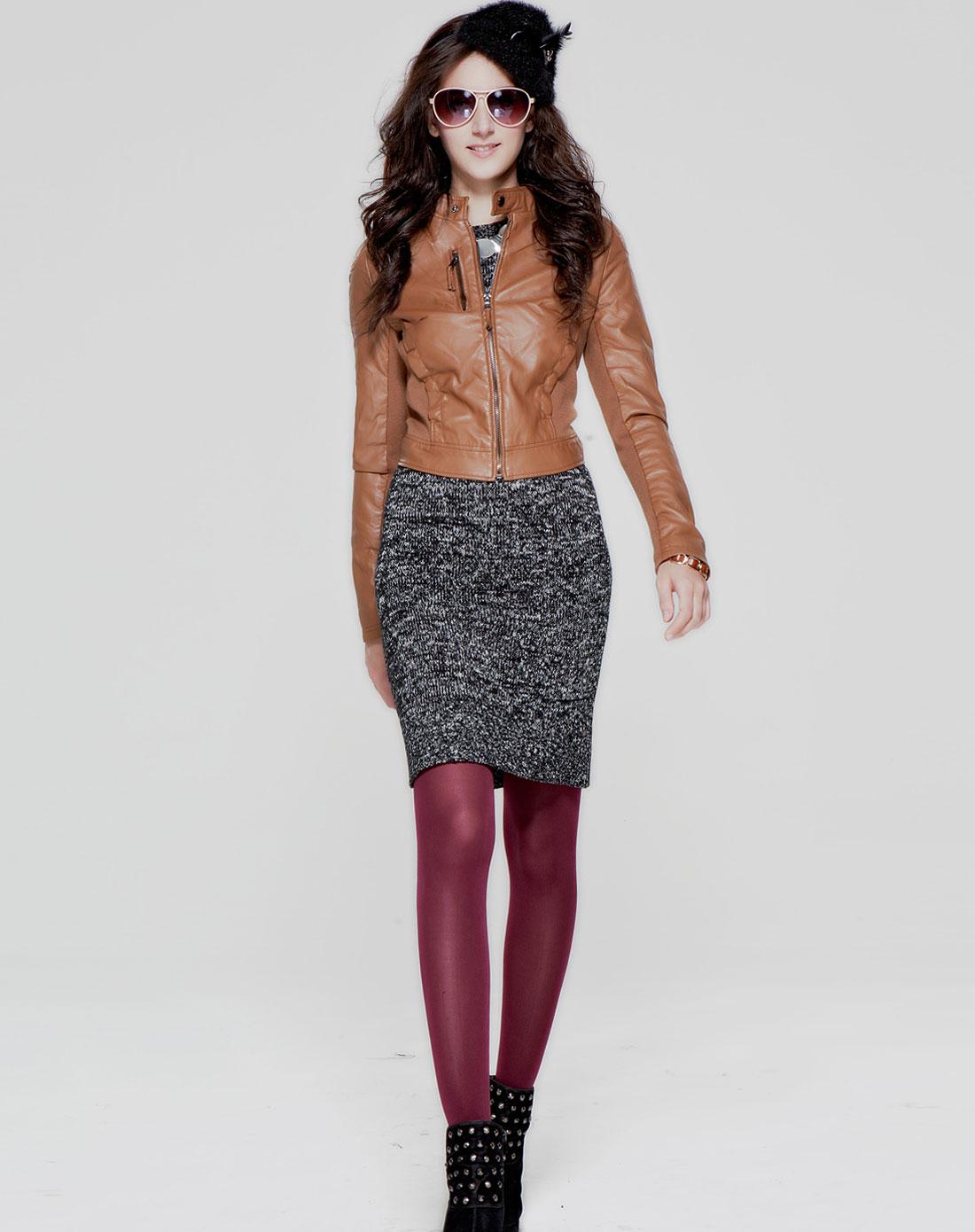 简时尚品justyle_简时尚品justyle女装专场-咖啡色个性时尚长袖皮衣