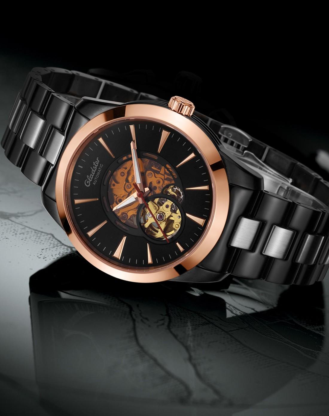 法国高端时尚腕表 gladster/2015新款镂空钢带玫瑰金黑色机械男表