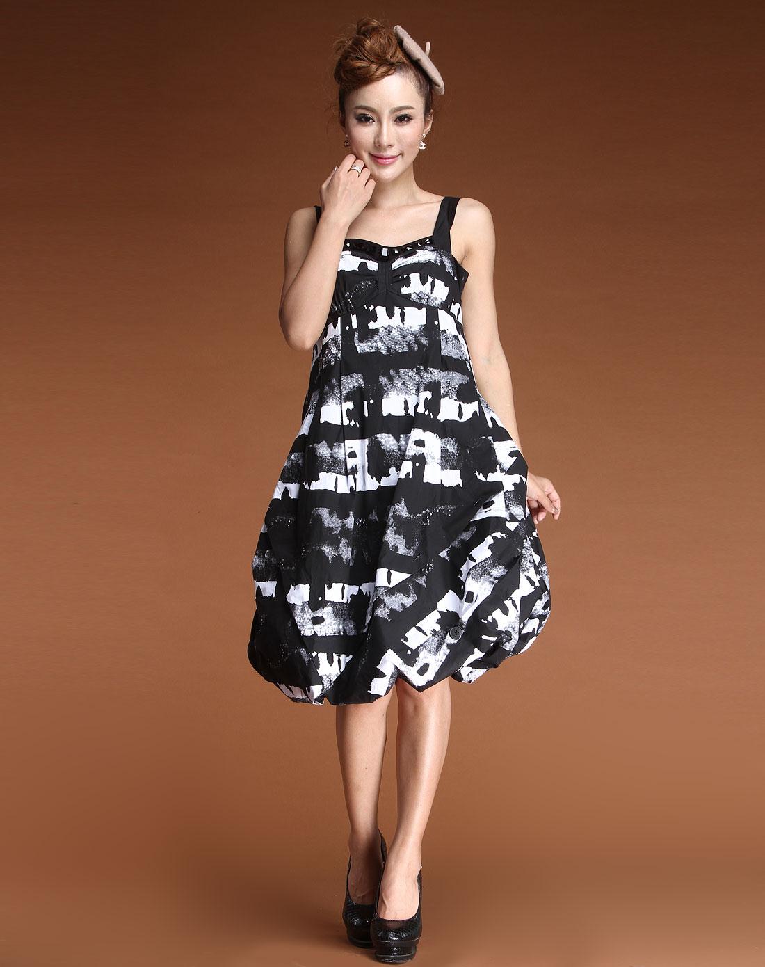 黑色时尚花纹吊带灯笼连衣裙