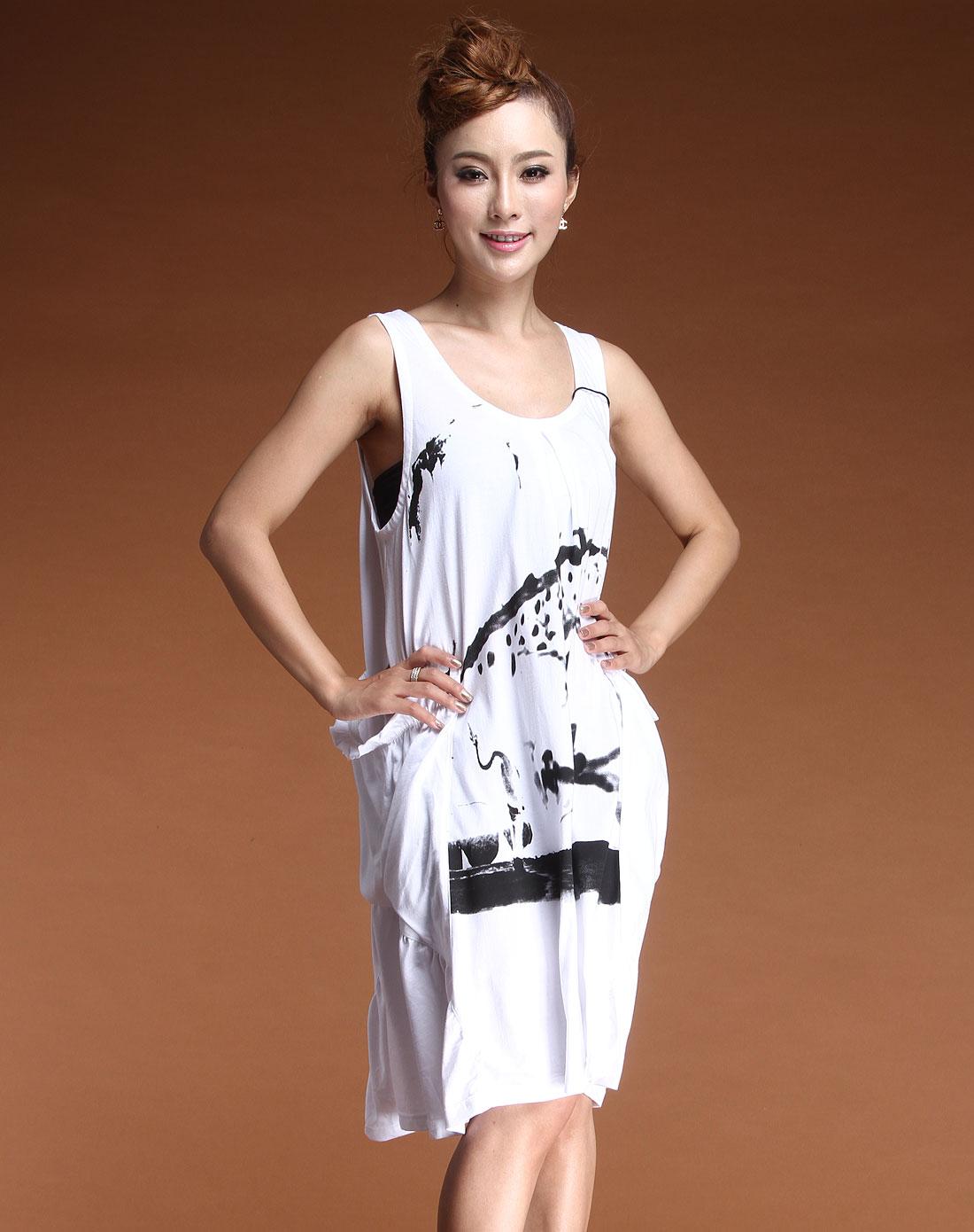 白色时尚水墨印花无袖连衣裙