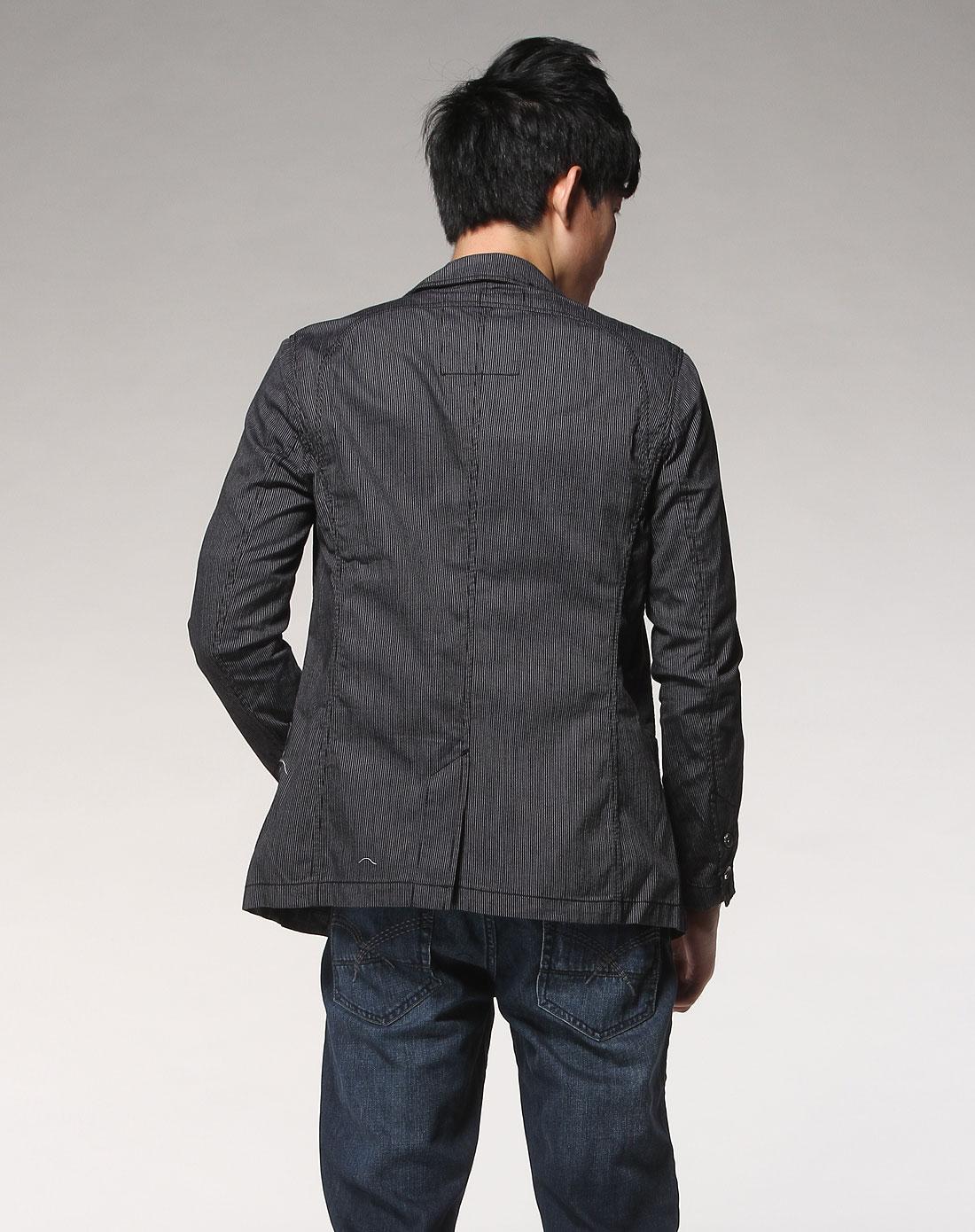 森马黑色休闲长袖西装外套091141521-090_唯品会