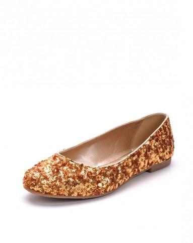 春款金黄色浅口平底单鞋