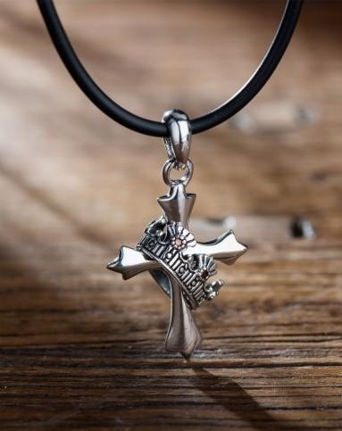 【男神专款】时尚十字架荆棘冠冕纯银项链 中性气质