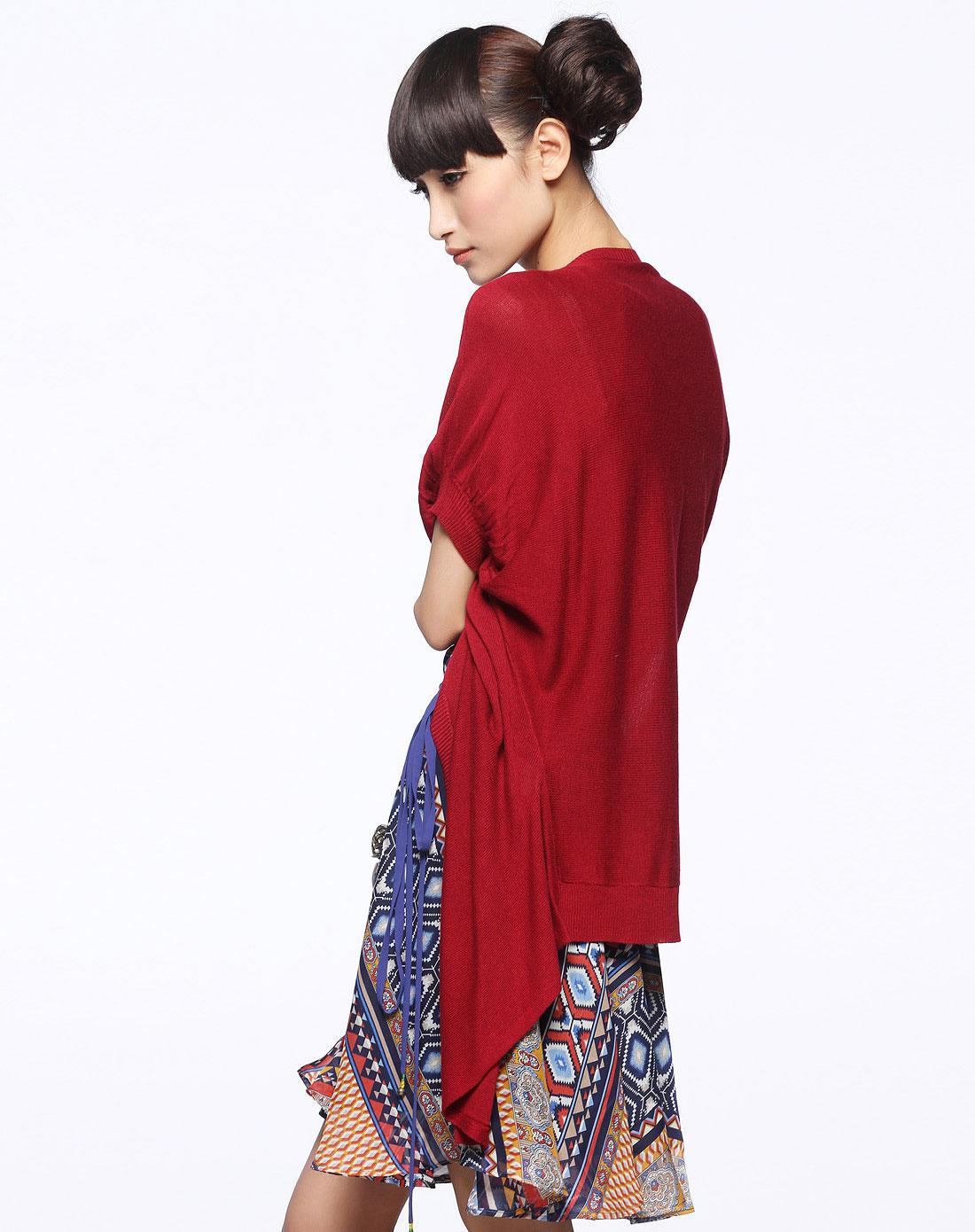 红色披肩式开衫针织衫外套