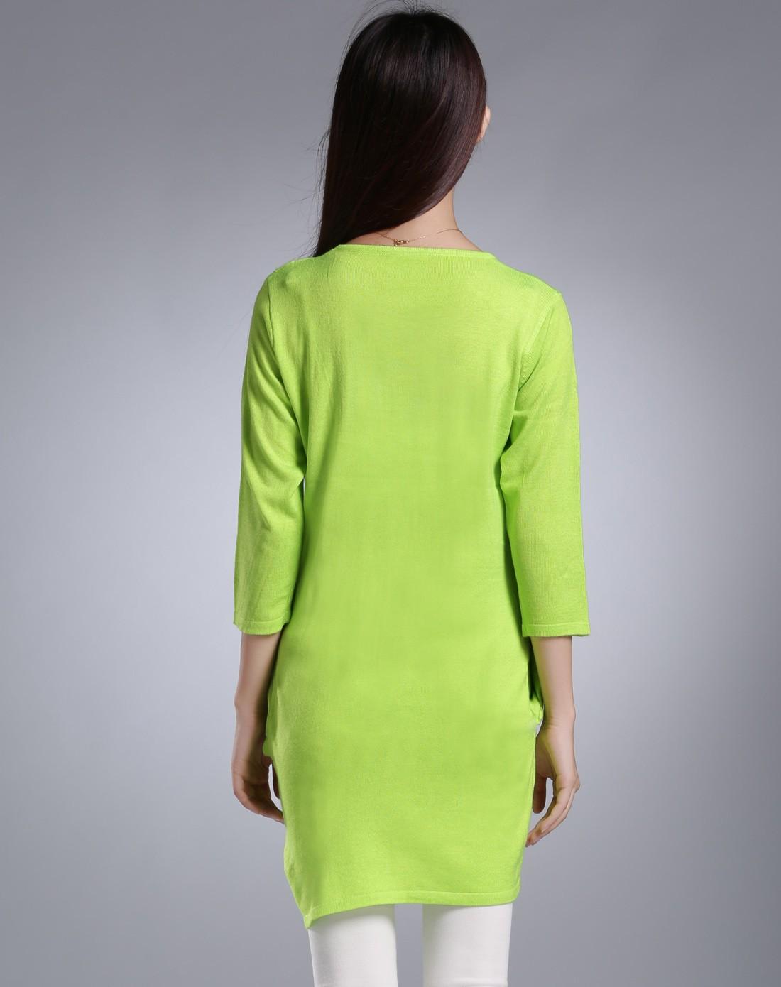 柠檬绿色气质优雅可爱图案针织毛衣