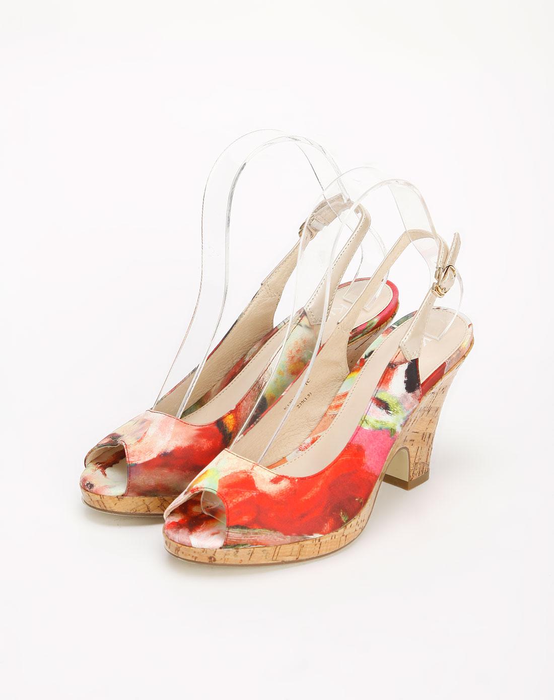 kisscat红/彩色鱼嘴凉鞋k130-10k101be-深红/浅粉杏图片