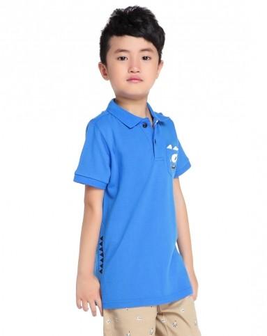 moomoo 男童星体蓝色针织卡通贴袋短袖polo衫
