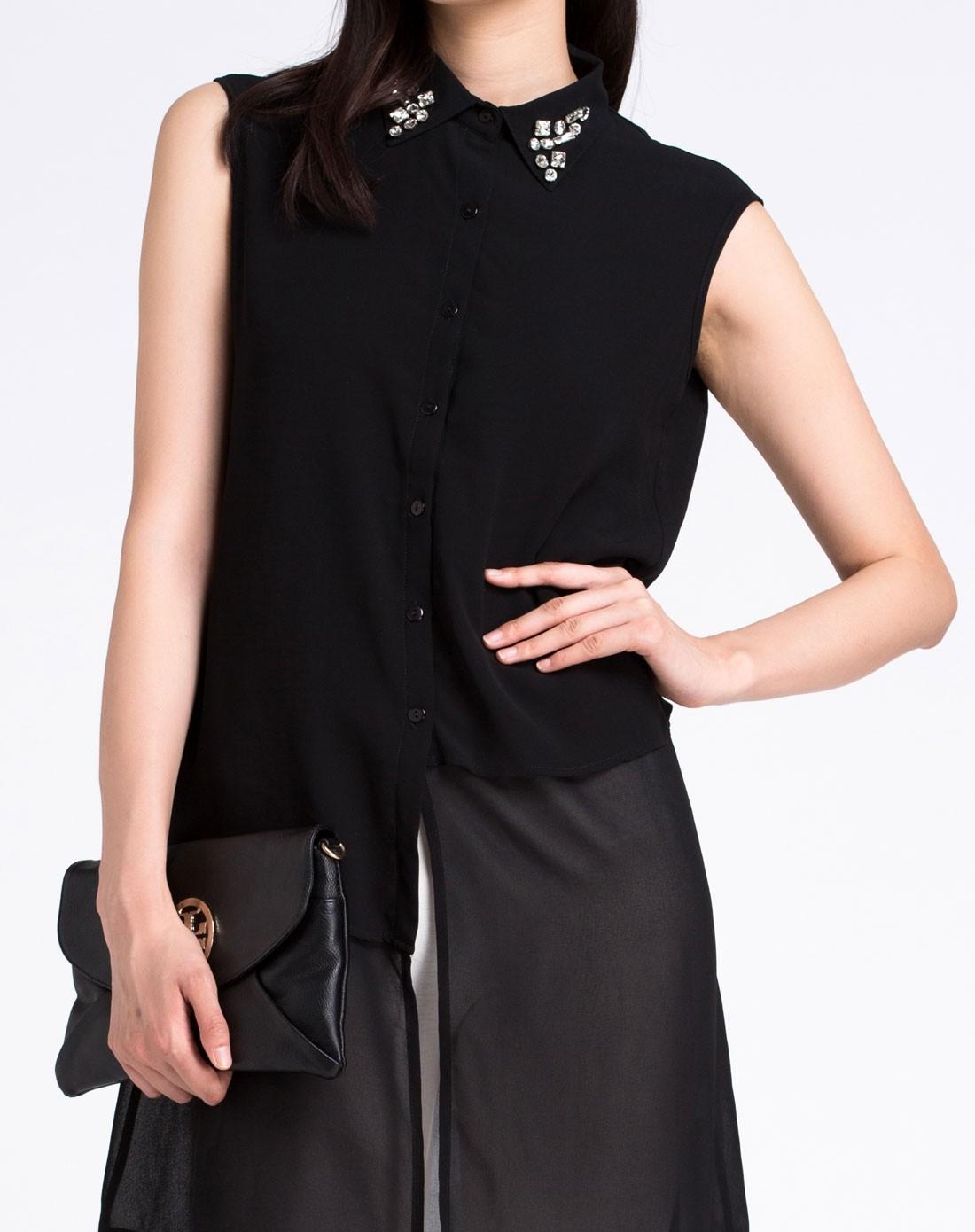个性设计黑色无袖长款衬衫