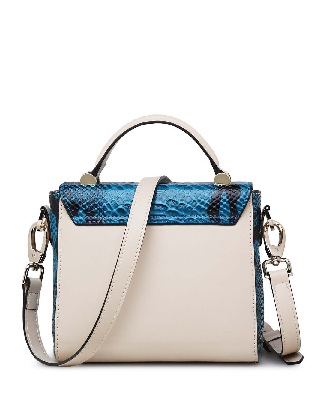 女款米白色蛇纹欧美时尚手提包