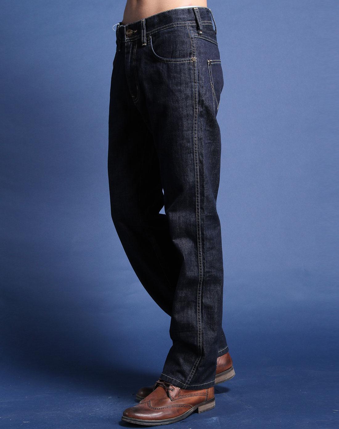 深蓝色简约时尚中腰牛仔长裤