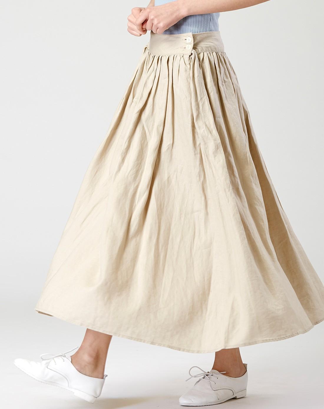 高腰亚麻半身裙
