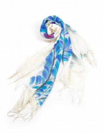 天蓝色手绘-羽毛羊毛围巾