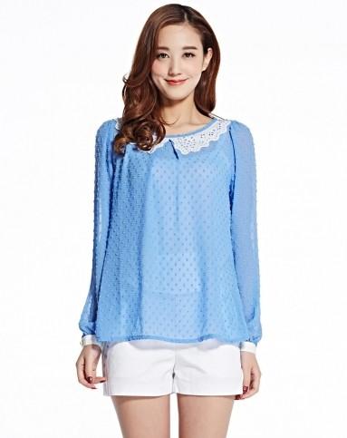 小衫批�_天蓝女士长袖小衫