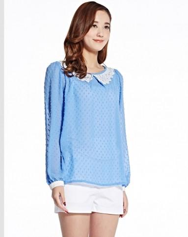 女士小衫_天蓝女士长袖小衫