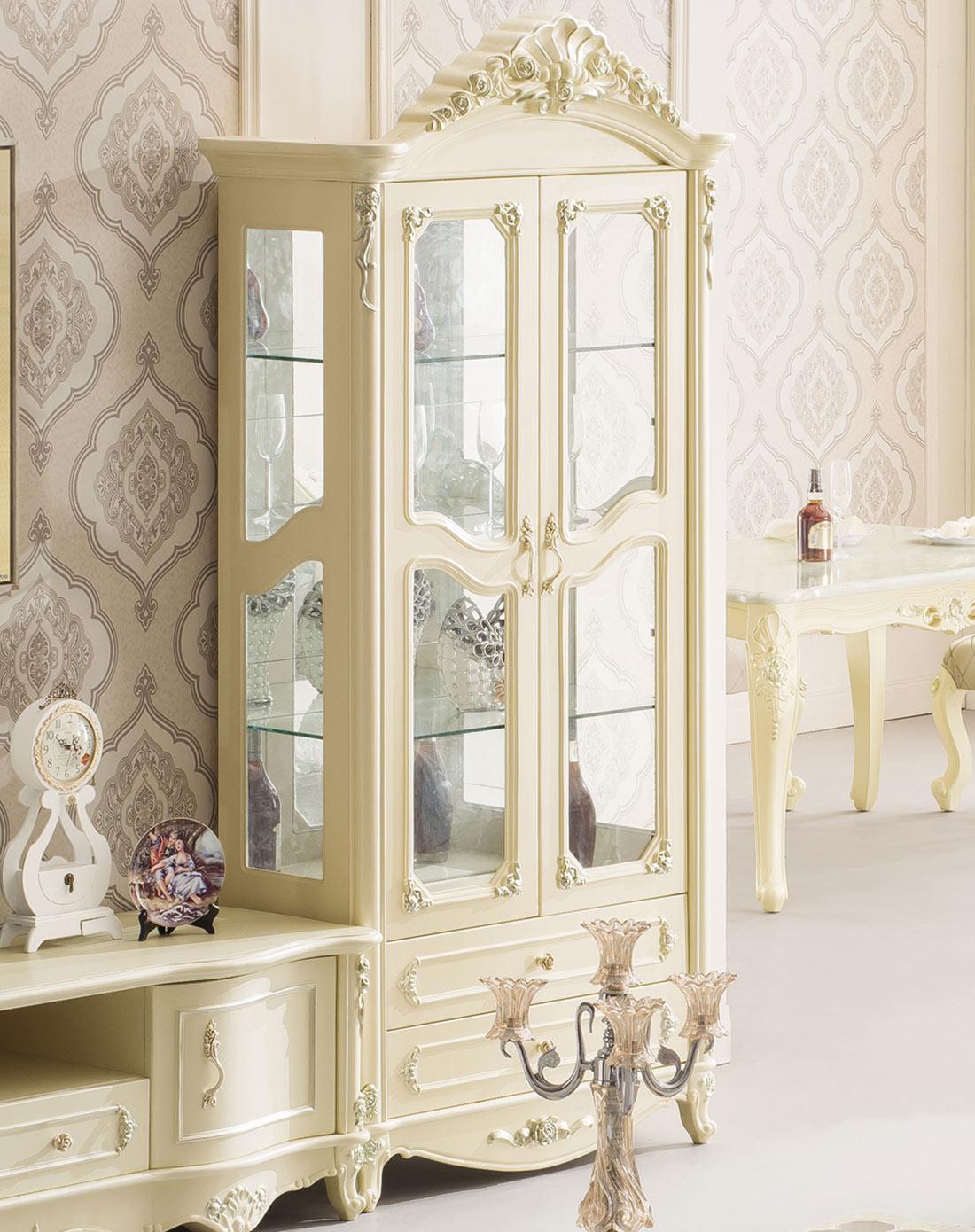 圣乔治-赫菲系列 法式装饰柜 欧式隔断玻璃酒柜 双门展示柜jh662