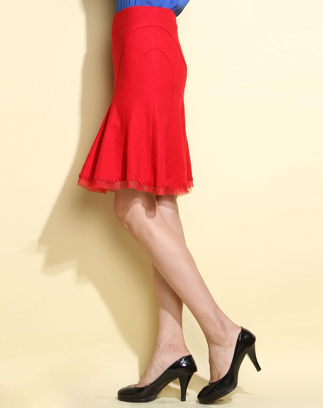 大红色毛呢时尚休闲短裙