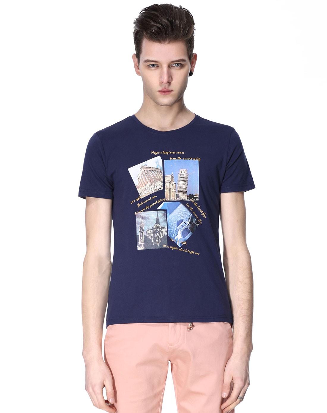 建筑图案藏蓝色短袖圆领t恤