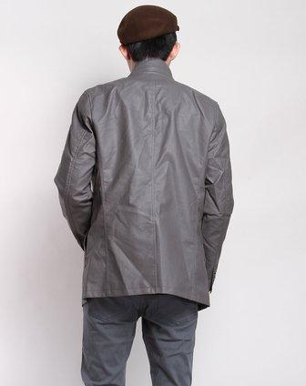 森马男装专场-中灰色西服式仿皮长袖外套图片