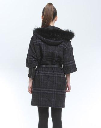 灰色格纹连帽中袖大衣