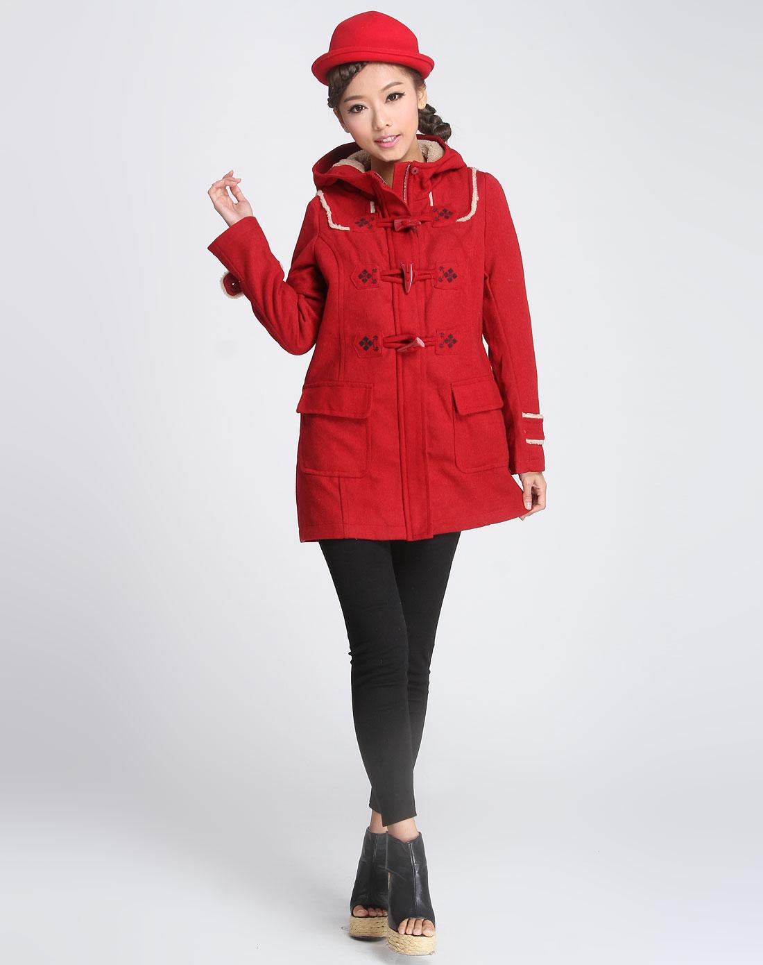 大红色民族风连帽牛仔扣长袖大衣