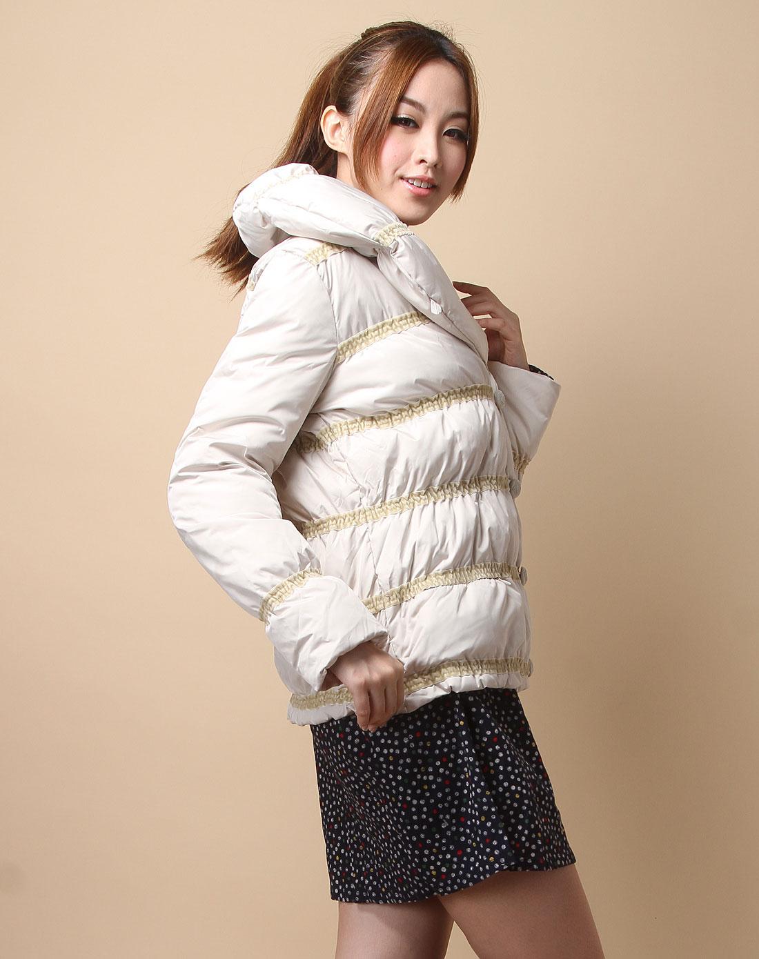 播�_播broadcast女装专场-米白色横间条时尚长袖羽绒服
